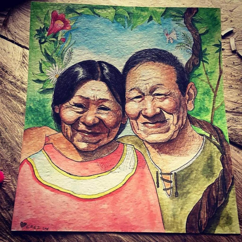 shipibo couple shamans at painting